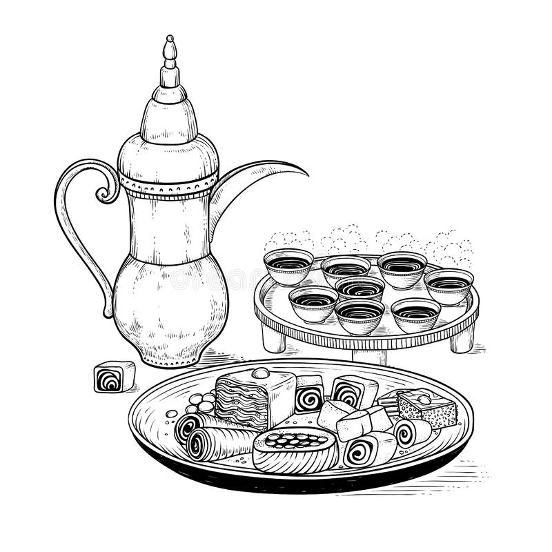 Vector sketch drawing ethnic Arabic cup and copper coffeepot, big plate East sweets. royalty free illustration