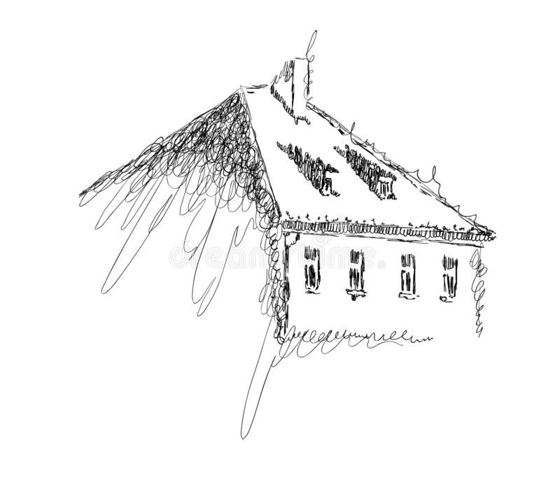 Vector sketch of European building hand drawn illustration in black and white colors stock illustration