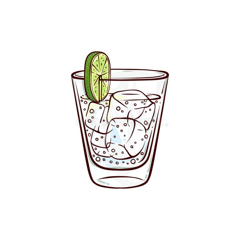 Vector sketch gin tonic glass with lime slice. And ice cubes. Hand drawn alcohol drink, beverage cocktail for bar, pub restaurans or party design. Tequila or stock illustration