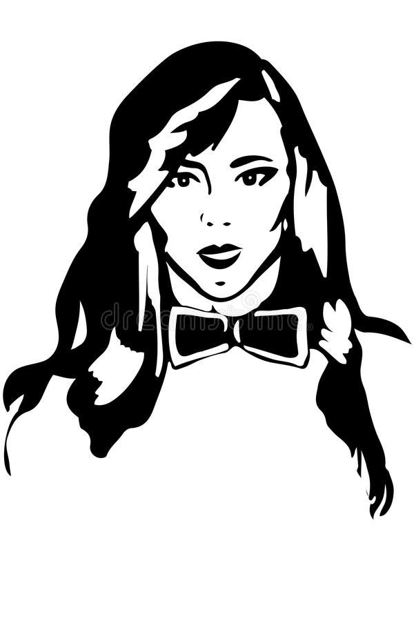 Vector sketch of a girl brunette in a tie butterfly stock illustration