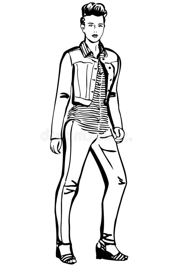 Vector sketch of a girl in a striped T-shirt and jeans vector illustration