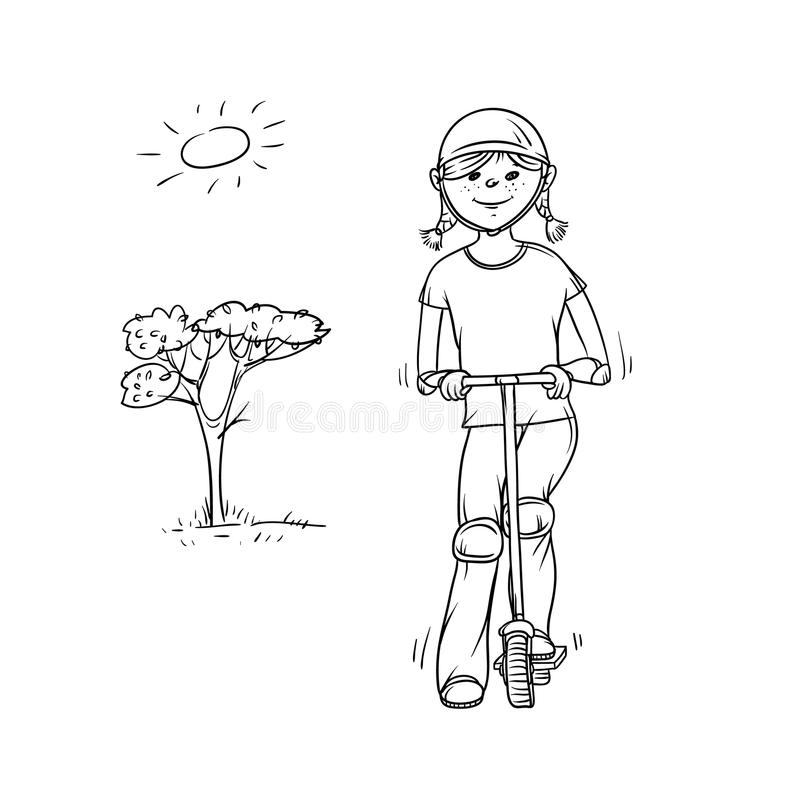 Vector sketch girl teenager on scooter. Child in crash helmet and knee pads play sports. Active walk in summer on stock illustration