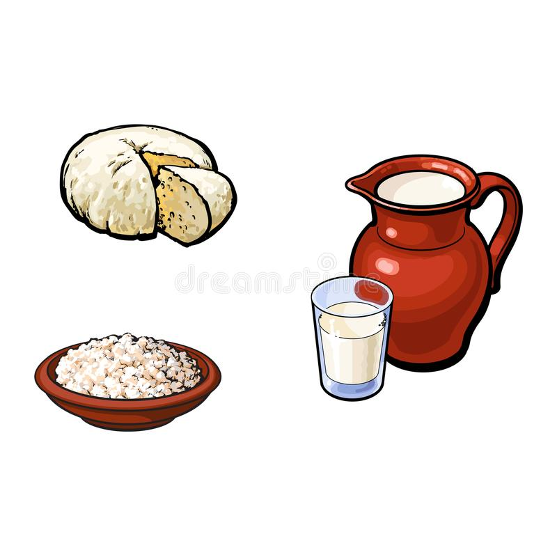 Vector sketch milk glass, jug cottage cheese set. Vector sketch glass of milk and ceramic pitcher jug crock, cottage cheese in pot brie soft cheese set. Isolated royalty free illustration
