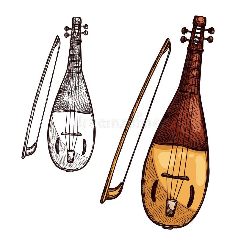 Vector Sketch Gusli Harp String Music Instrument Stock Vector