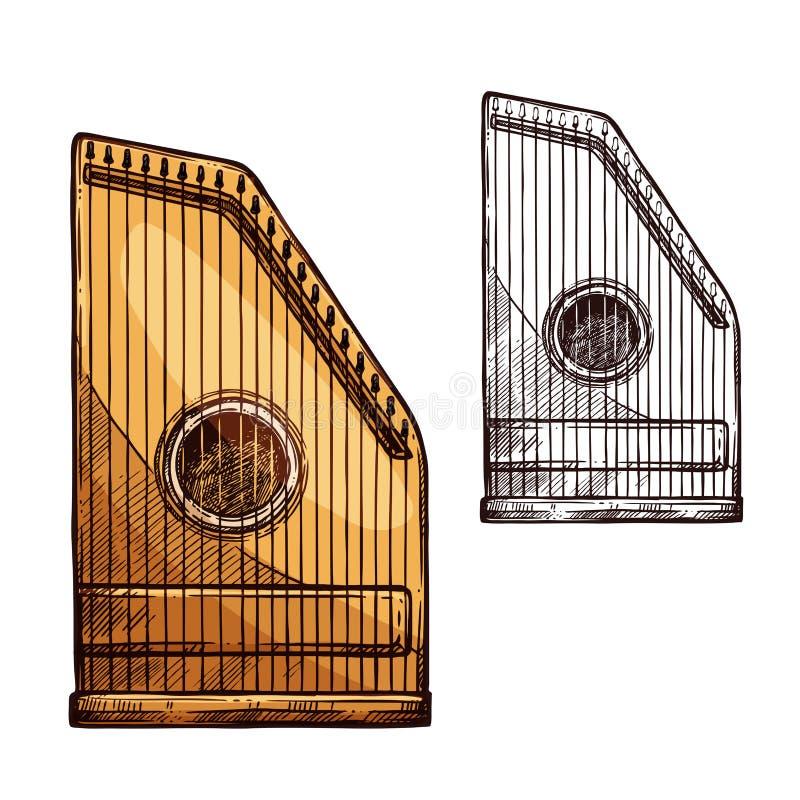 Vector sketch gusli harp string music instrument. Gusli string music instrument. Vector sketch symbol of old Russian multi-string plucked musical kantele or vector illustration