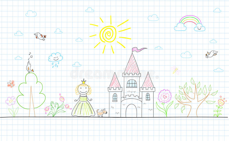 Vector sketch with happy little princess vector illustration