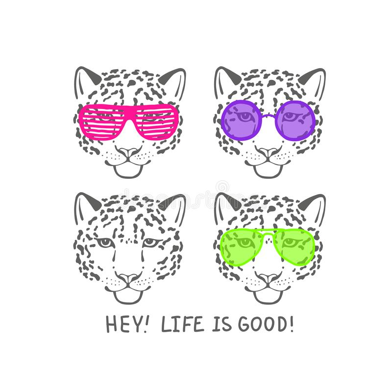 Vector sketch head of leopard in pink club glasses stock illustration