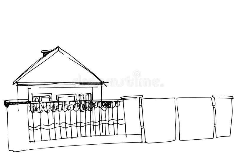 Download Vector Sketch Of A House Behind An Iron Fence With A Gate Stock  Vector