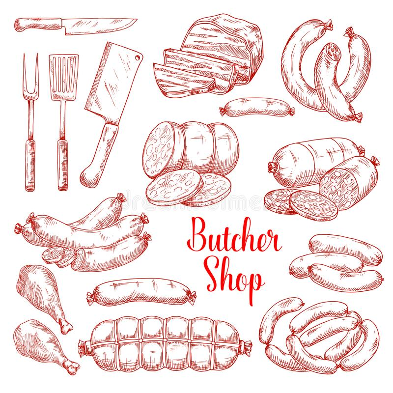 Vector sketch icons of butchery meat products. Butcher shop meat products vector isolated sketch icons. Butchery gourmet delicatessen and gastronomy brats and royalty free illustration