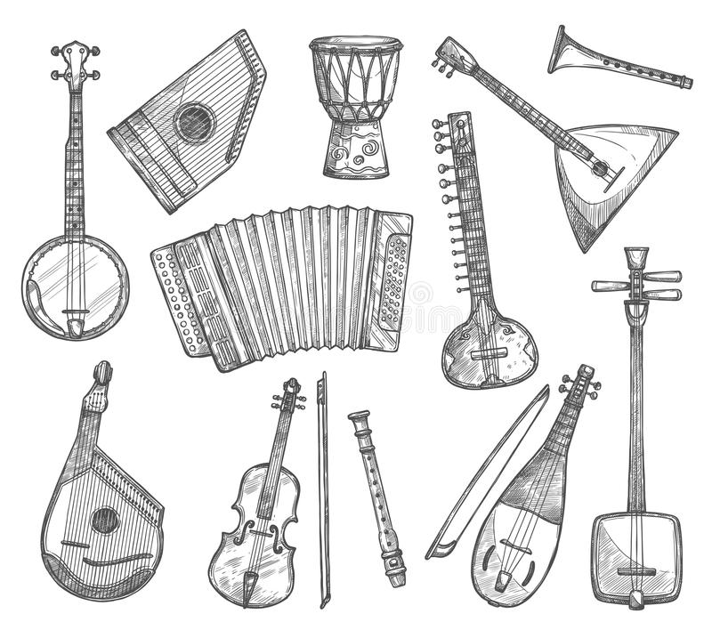 Vector sketch icons of musical instruments. Musical instruments vector sketch icons. Vector banjo guitar, ethnic jembe leather drum, balalaika zither and bouzuki stock illustration