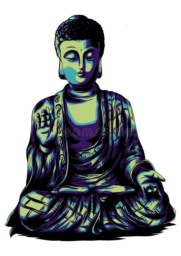 Vector sketch illustration with buddha. Drawing by hand. Boho style. Use for posters, postcards, print for t-shirt, tattoo stock illustration