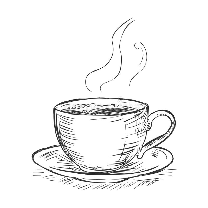 Vector sketch illustration - cup of coffee royalty free stock photo