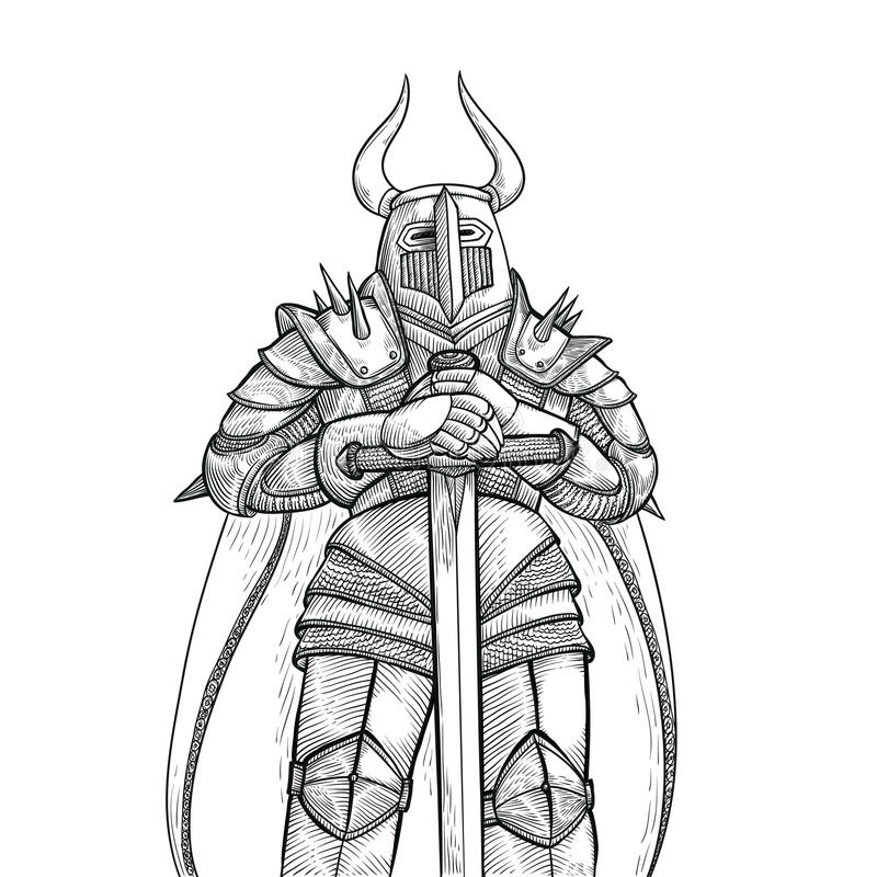 Vector Sketch Illustration By Hand. Medieval Knight In Heavy Metal ...