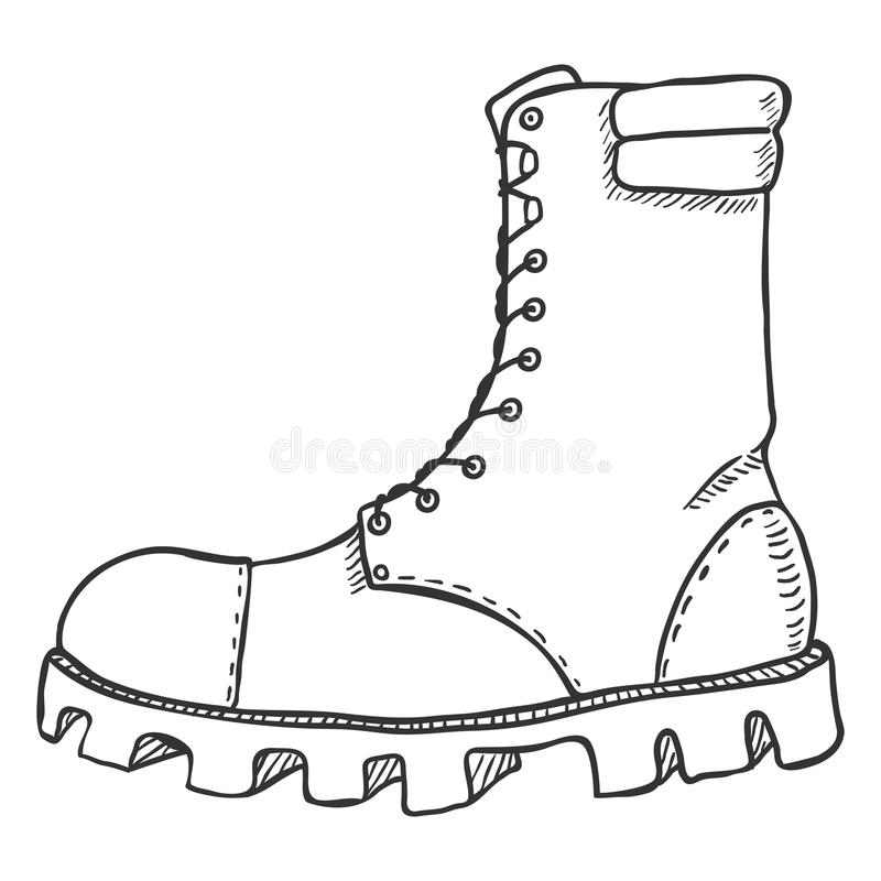 Vector Sketch Illustration , High Leather Army Boots. Side