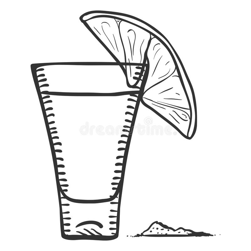 Vector Sketch Tequila Shot with Lime Slice and Salt. Vector Sketch Illustration - Tequila Shot with Lime Slice and Salt royalty free illustration