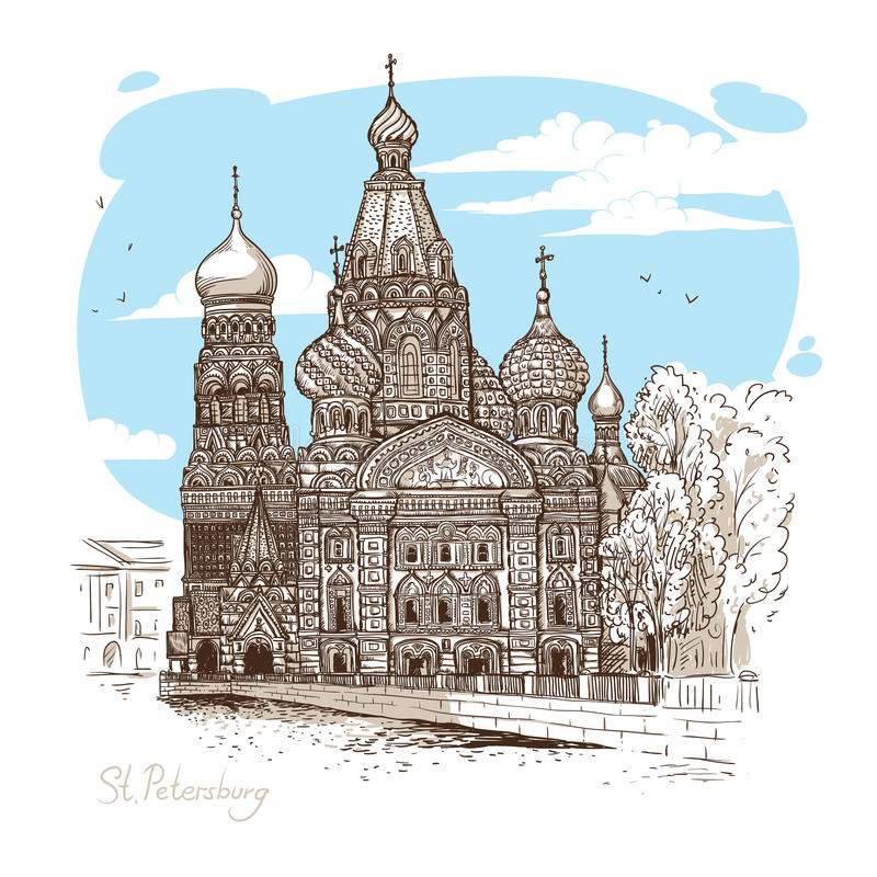 Download Vector Sketch Illustration. Tourist Dostoprimechatelnost.Sobor Resurrection On Spilled Blood Or Church Of Our Savior In Stock Vector - Image: 83702781