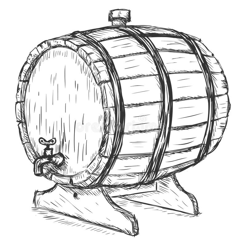 Vector Sketch Illustration - wooden wine barrel with faucet vector illustration