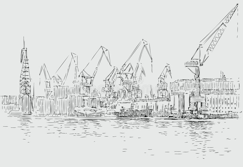 Vector sketch of an industrial port stock illustration