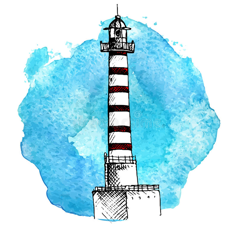 Vector sketch of lighthouse stock illustration