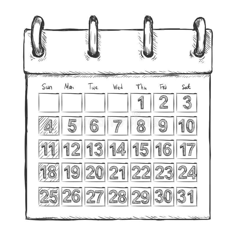 Vector Sketch Loose-leaf Calendar. On White Background royalty free illustration