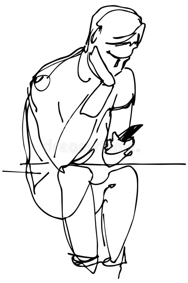 Vector sketch of a man sitting and looking at the phone vector illustration