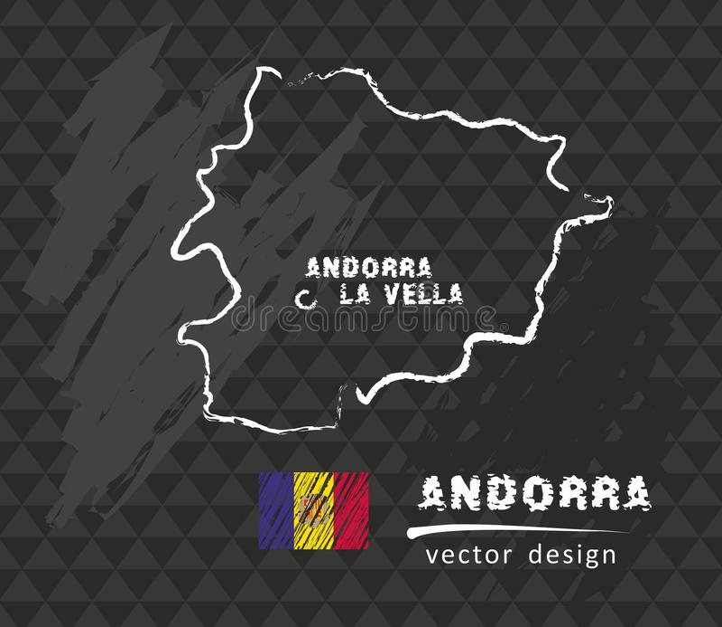 Andorra map, vector drawing on blackboard. Vector sketch map of Andorra with flag, hand drawn chalk illustration. Grunge design vector illustration
