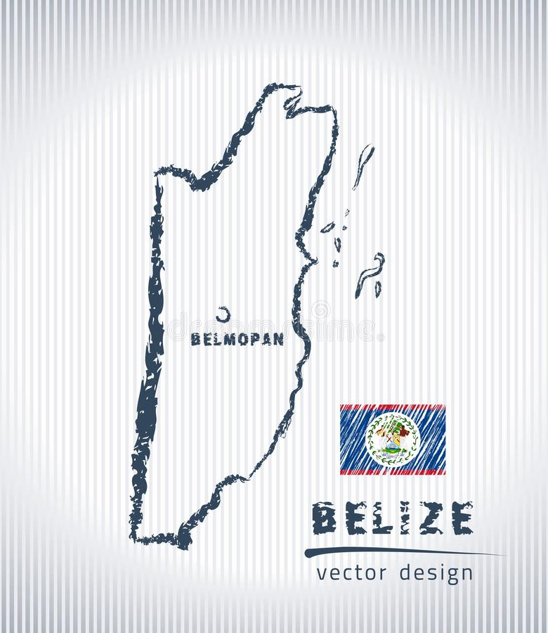 Belize national vector drawing map on white background. Vector sketch map of Belize with flag, hand drawn chalk illustration. Grunge design stock illustration