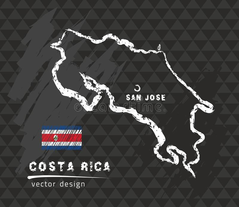 Costa Rica map, vector pen drawing on black background royalty free illustration