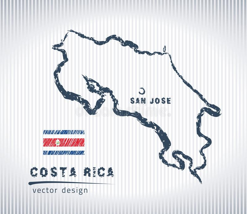 Costa Rica vector chalk drawing map isolated on a white background stock illustration