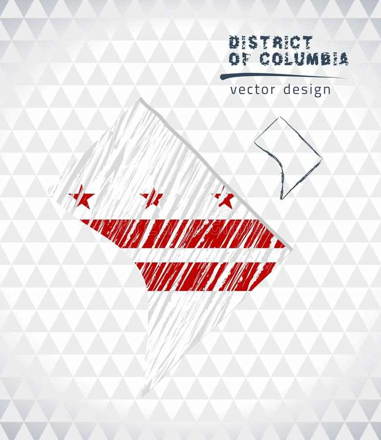 District of Columbia vector map with flag inside isolated on a white background. Sketch chalk hand drawn illustration vector illustration