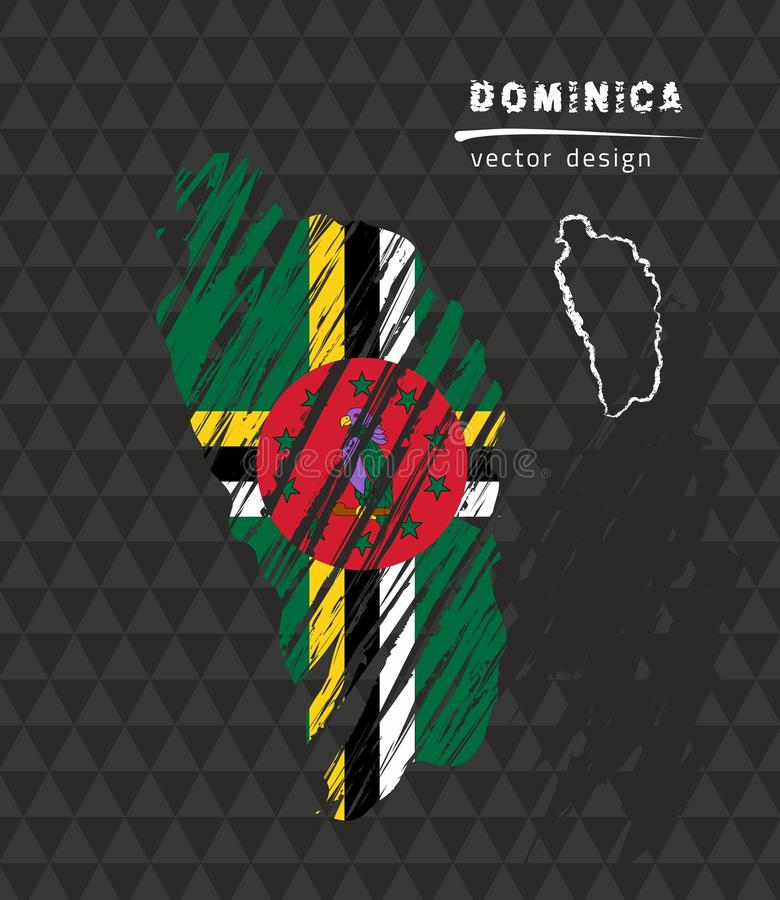 Dominica national vector map with sketch chalk flag. Sketch chalk hand drawn illustration. Vector sketch map of Dominica with flag, hand drawn chalk illustration vector illustration