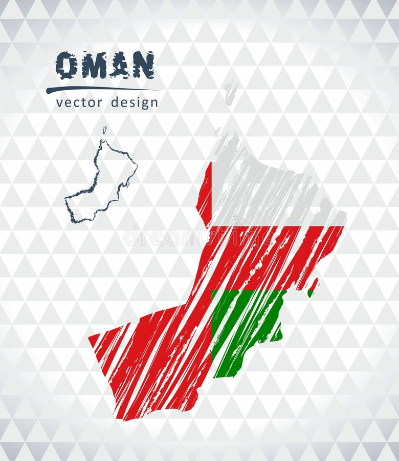 Map of Oman with hand drawn sketch pen map inside. Vector illustration. Vector sketch map of Oman with flag, hand drawn chalk illustration. Grunge design royalty free illustration
