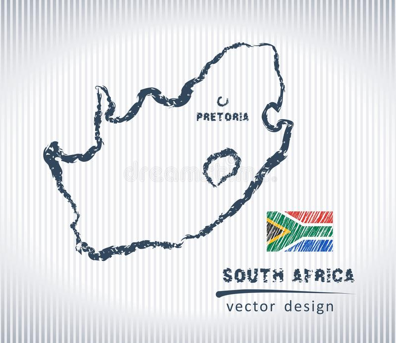 South Africa national vector drawing map on white background. Vector sketch map of South Africa with flag, hand drawn chalk illustration. Grunge design vector illustration