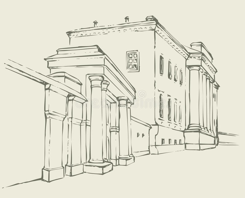 Vector sketch. Massive building with a colonnade stock illustration