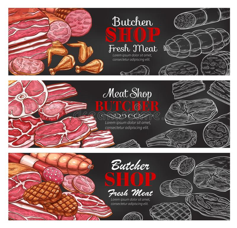 Vector sketch meat sausages butcher products icons. Butchery meat and sausages sketch color and chalk banners for butcher shop. Vector design of meat vector illustration