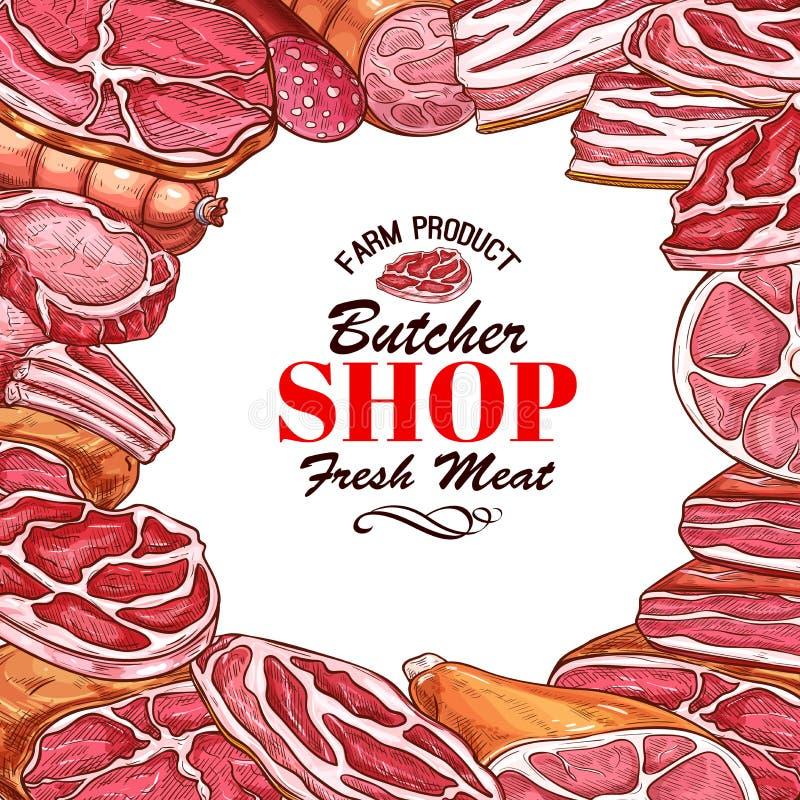 Vector sketch meat sausages butcher products icons. Butcher shop sketch poster or butchery meat. Vector design of meat delicatessen beefsteak grill or bbq pork vector illustration