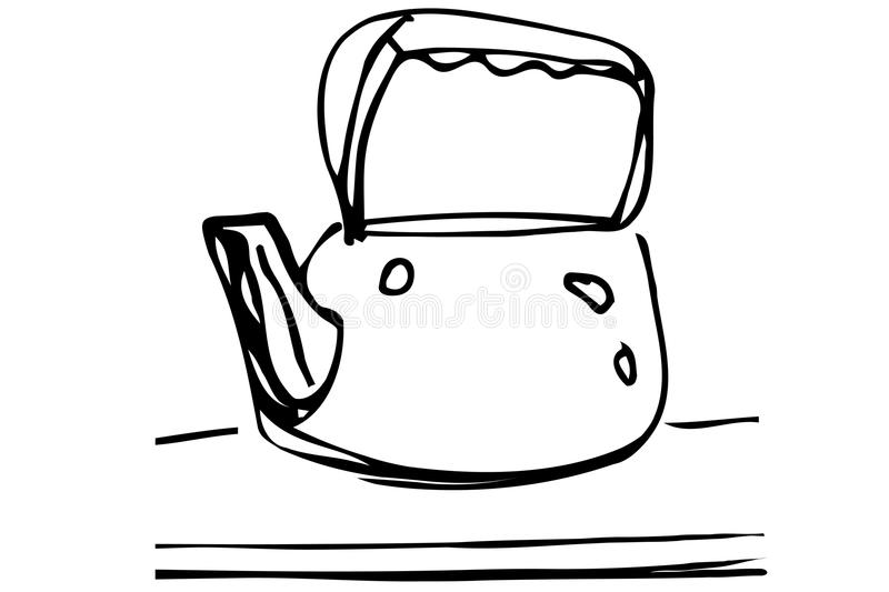 Vector sketch of metal teapot on the table stock illustration