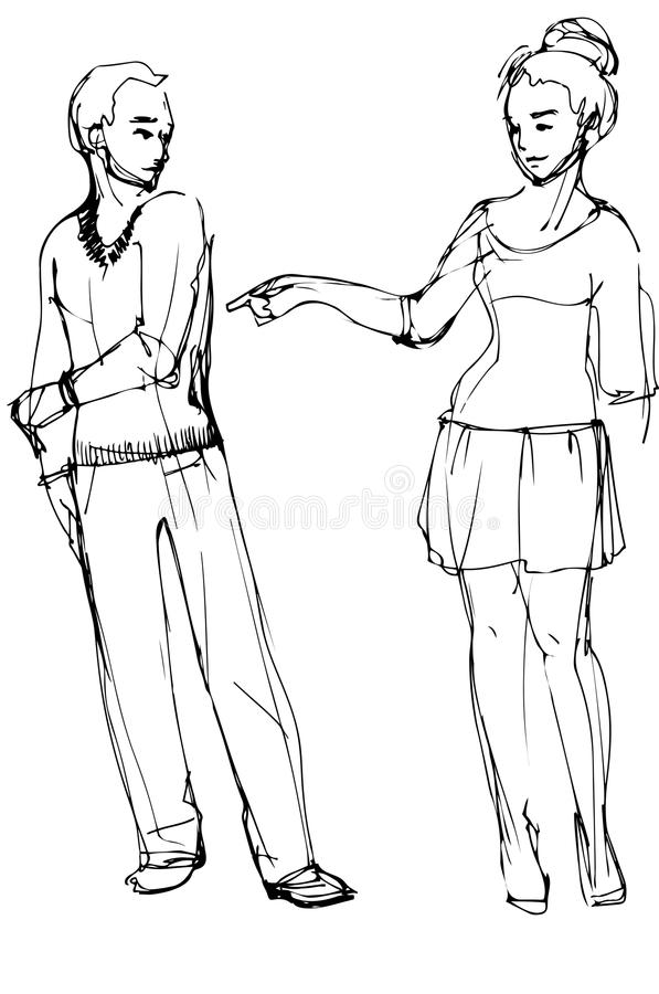 Free Vector Sketch Of A Woman Pointing At A Man Stock Images - 52700404
