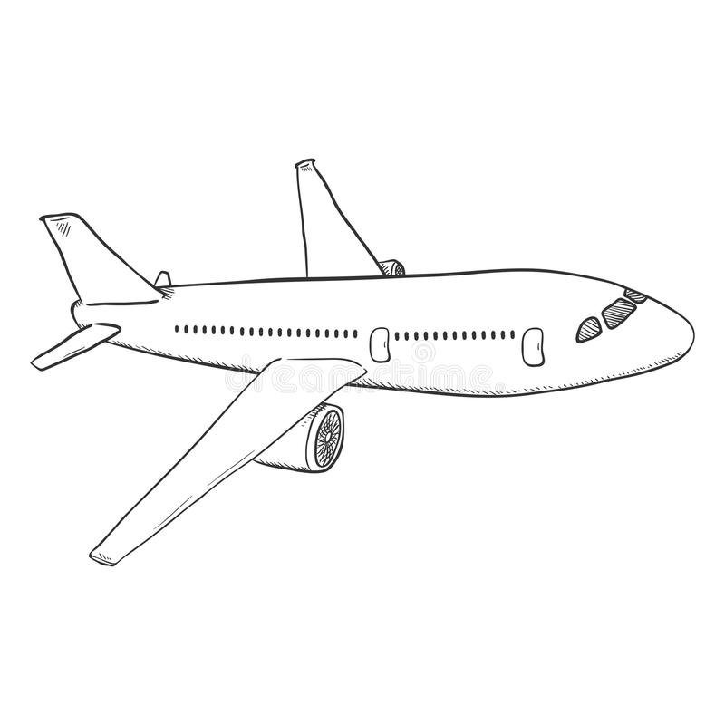 Vector Sketch Passenger Airplane. Commercial Aviation Aircraft. royalty free illustration