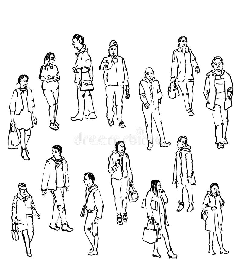 Line Art People : Vector sketch of people stock illustration draw