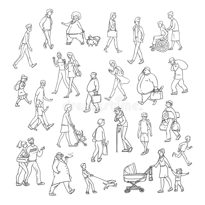 Vector sketch people walk down street. Children and adults characters different ages, physiques and moods. Mother with vector illustration