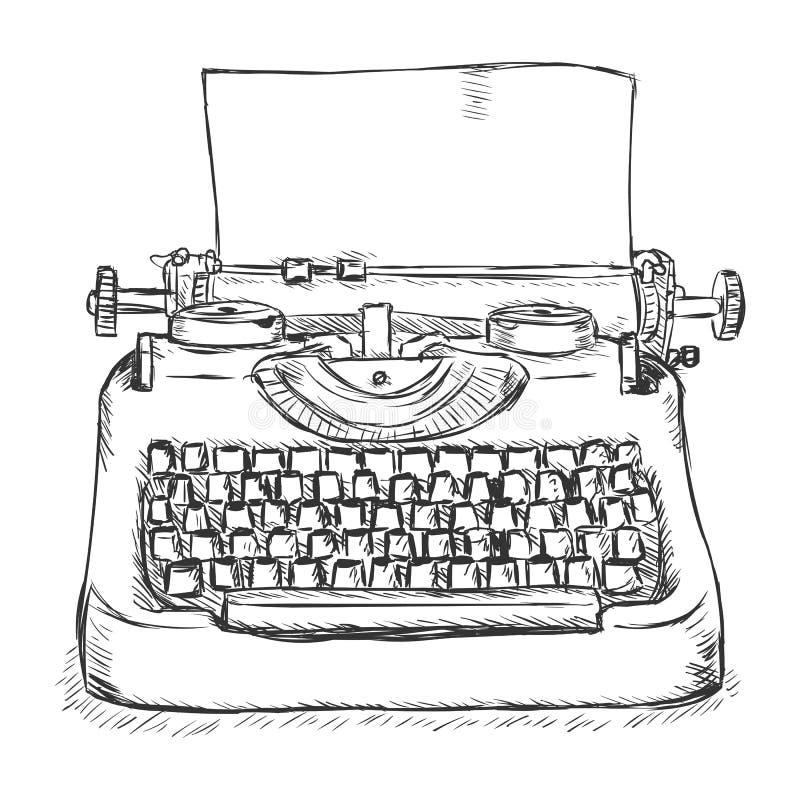 Vector Sketch Retro Typewriter. On White Background stock illustration
