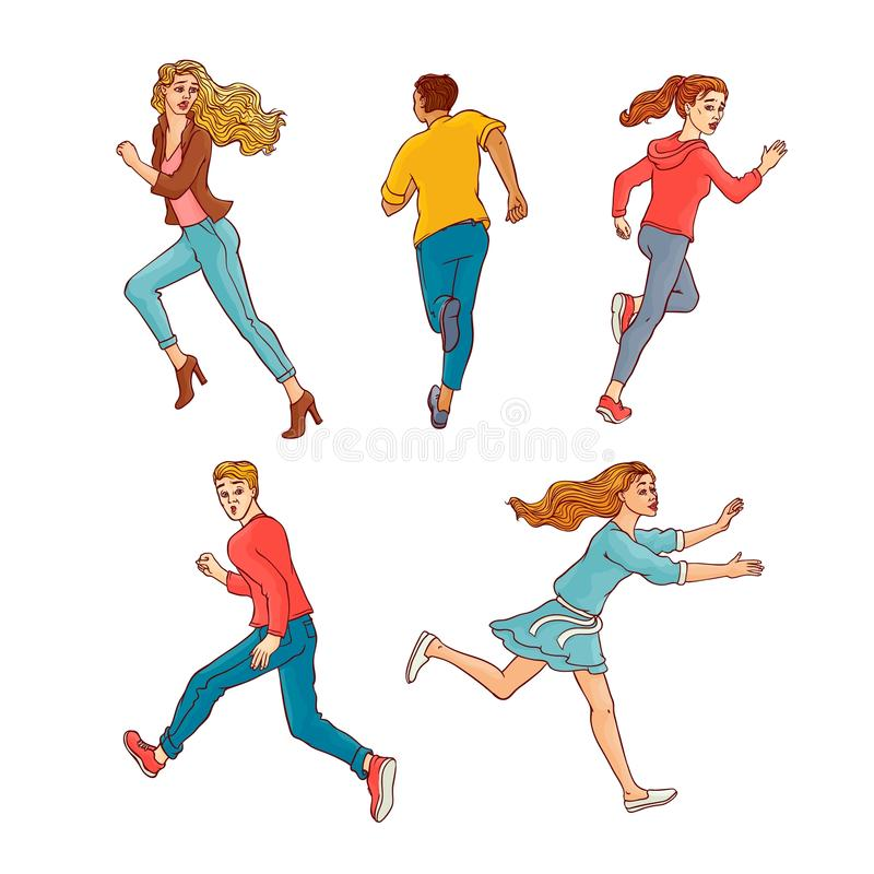 Vector sketch running men, ranaway women set. Young men, women running away set. Male, female characters running looking back with afraid frightened face royalty free illustration