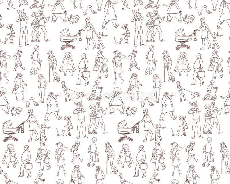 Vector sketch seamless pattern of illustrations walking urban residents. Children and adults on the street in the city vector illustration