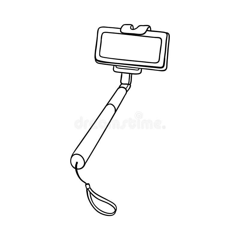 Vector sketch selfie stick monopod with smartphone stock illustration