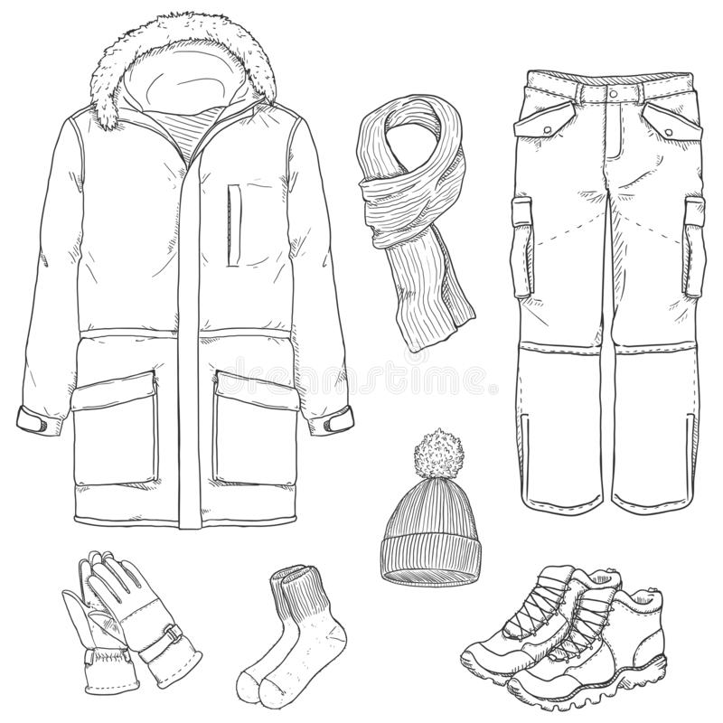 Free Vector Sketch Set Of Winter Men Clothes Stock Photo - 161369730