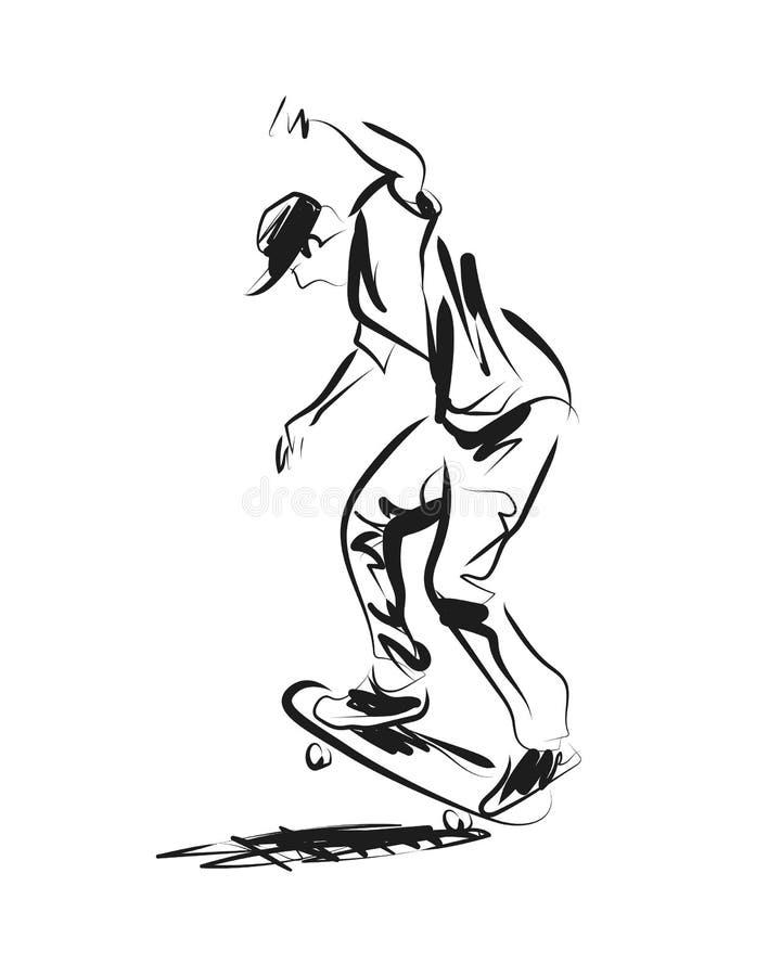 Vector sketch of skateboarder stock illustration