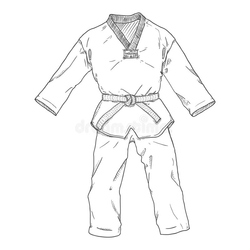 Vector Sketch Taekwondo Kimono Illustration stockfotografie