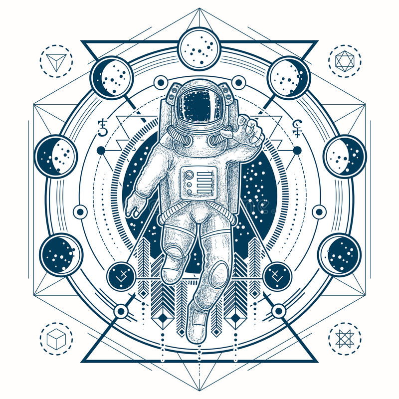 Vector sketch of a tattoo with astronaut in a space suit and moon phases vector illustration