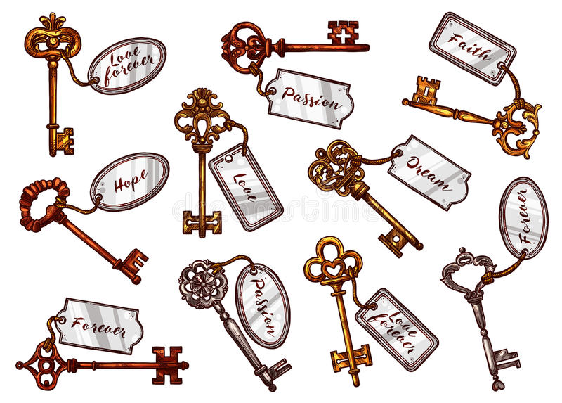 Vector sketch vintage keys with keychain tags stock illustration
